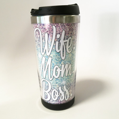 Custom Tumbler - Wife Mom Boss Ombre Glitter - Stainless Steel Tumbler