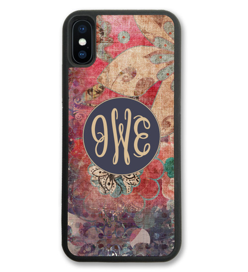 Monogrammed iPhone Case - Fall Boho Floral