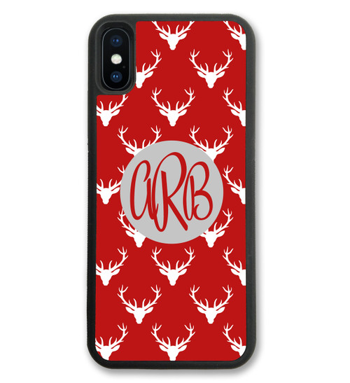 iPhone Case - Deer Antlers Red Holiday Christmas