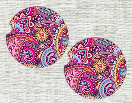Car Coaster, Car Accessories for Her, Pink Paisley Floral Auto Coaster, Coaster, Cup Holder Coaster, Gift For Her
