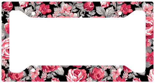 Car Tag Frame, Black Floral Auto License Plate Frame, License Plate Cover