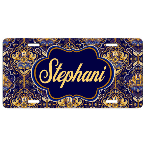 Royal Paisley Front License Plate, Custom License Plate, Personalized License Plate