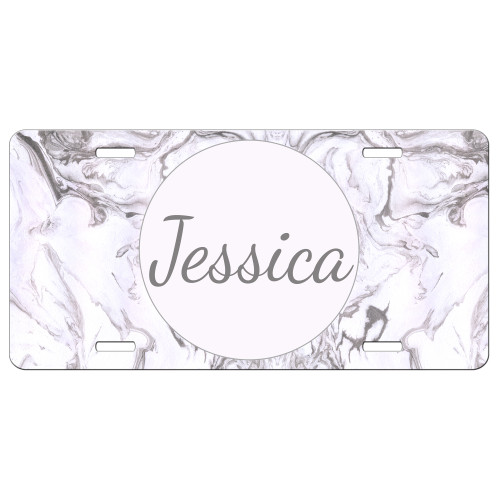 Pink Grey Marble Front License Plate, Custom License Plate, Personalized License Plate