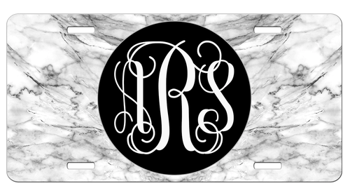Black Grey White Marble Monogram License Plate