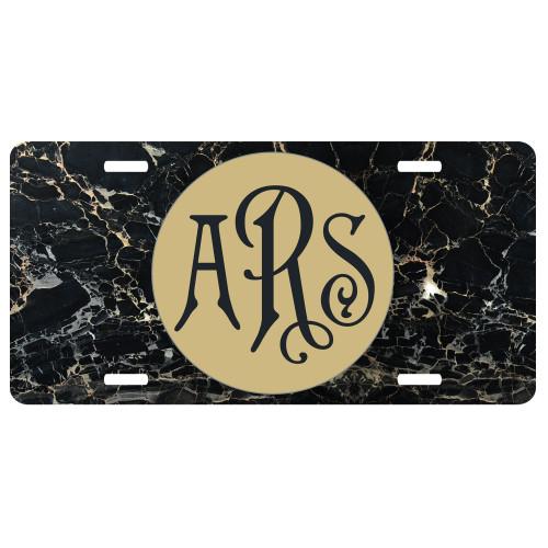 Black Marble Front License Plate, Custom License Plate, Personalized License Plate
