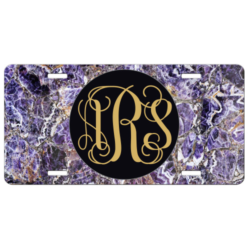 Purple Marble Front License Plate, Custom License Plate, Personalized License Plate