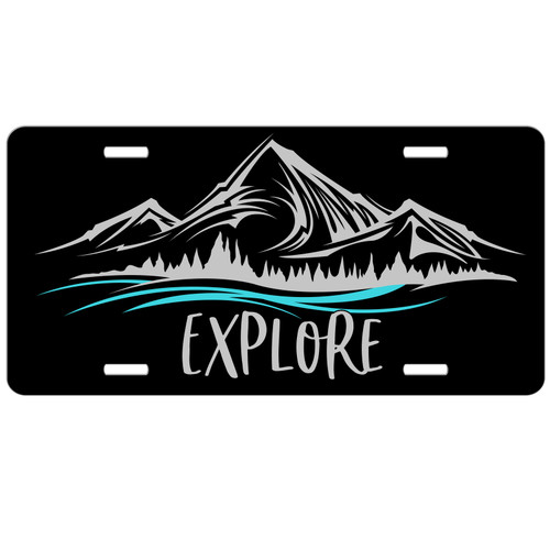 Explore Wanderlust Mountains License Plate - Car Tag Vanity Plate
