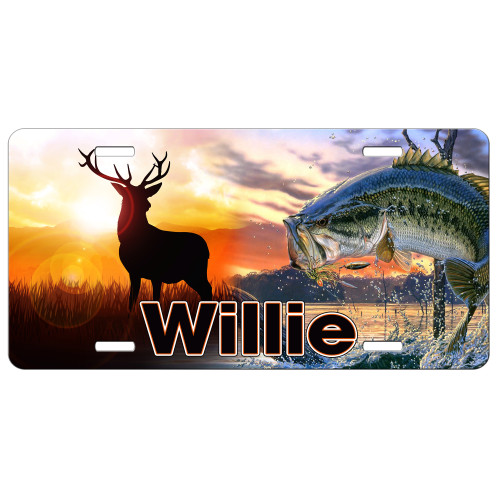 Hunting Fishing Deer Bass License Plate, Custom License Plate, Personalized License Plate Gift for Him