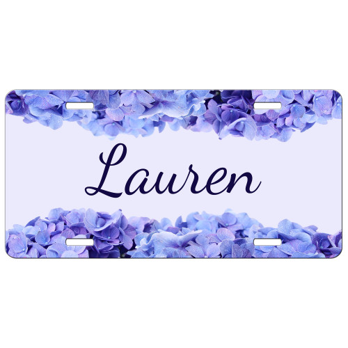 Blue Hydrangea Floral Flowers Front License Plate, Custom License Plate, Personalized License Plate