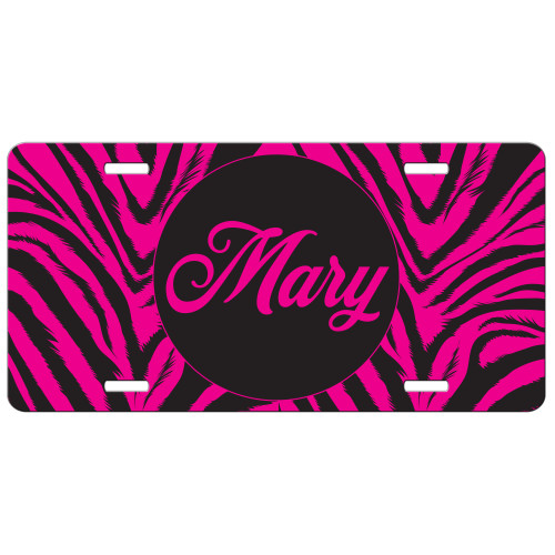 Hot Pink Zebra Front License Plate, Custom License Plate, Personalized License Plate
