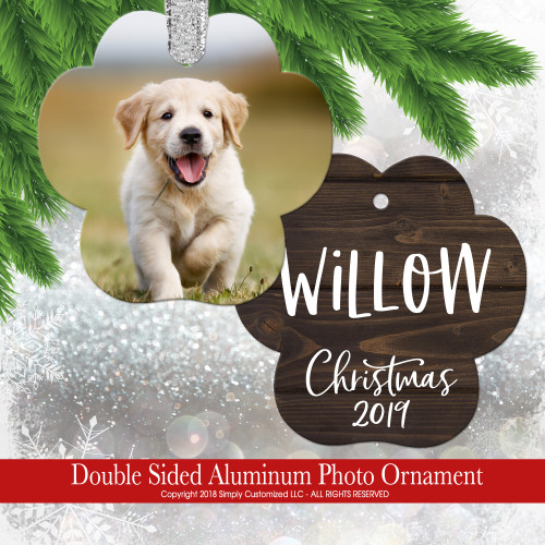 Custom Dog Paw Photo Ornament Picture Personalized - Double Sided Aluminum