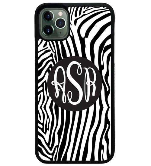 Zebra Stripes iPhone Case Monogrammed