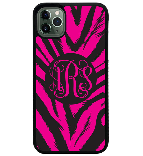 Hot Pink Zebra iPhone Case Monogrammed