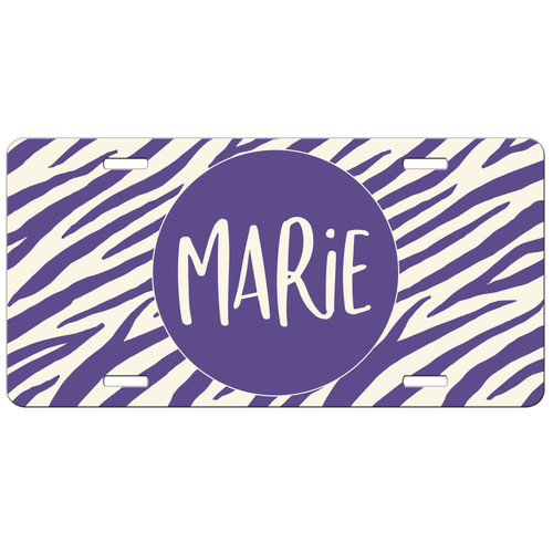 Ultra Violet Zebra Stripes Front License Plate, Custom License Plate, Personalized License Plate