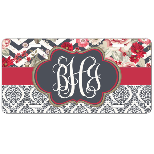 Monogram License Plate Floral Brocade Front License Plate, Custom License Plate, Personalized License Plate
