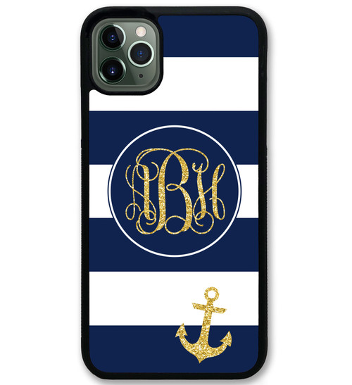 Navy Stripes Anchor iPhone 11 Case