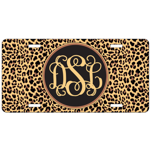 Leopard Animal Print Front License Plate Monogram