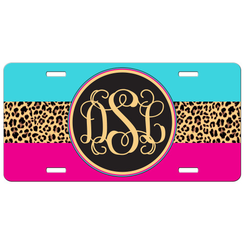 Hot Pink Turquoise Leopard Animal Print Front License Plate Monogram