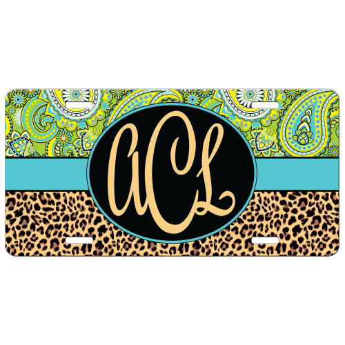 Lime Paisley Leopard Animal Print Front License Plate Monogram