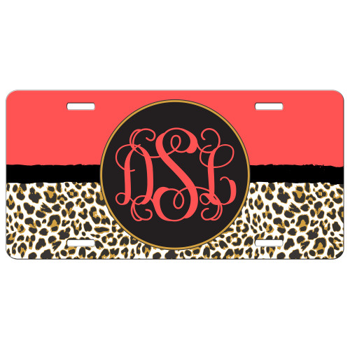 Orange Leopard Cheetah Animal Print Front License Plate Monogram
