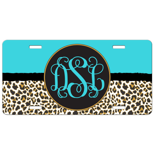 Turquoise Leopard Cheetah Animal Print Front License Plate Monogram
