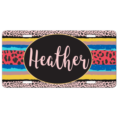 Customizable License Plate for Automobiles Blue Pink Leopard Print