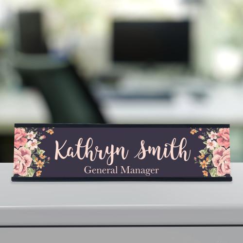 Floral Roses Desk Name Plate