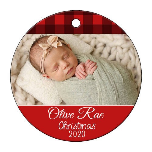 Red Buffalo Plaid Photo Ornament Your Picture Text Keepsake