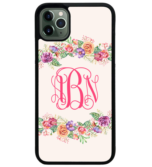 iPhone 11 Case Floral Wreath Monogrammed