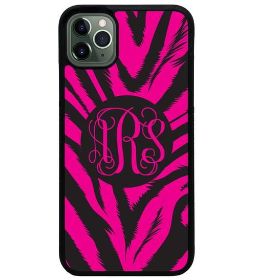 Hot Pink Zebra iPhone Case Monogrammed