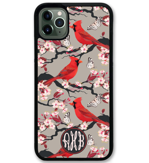 Cherry Tree Cardinals iPhone Case Monogrammed Personalized