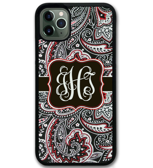 Black Red Paisley iPhone 11 Case