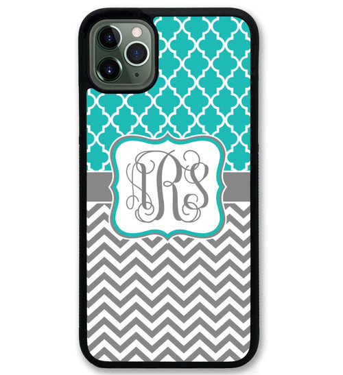 Pretty Teal Lattice Chevrons iPhone 11 Case