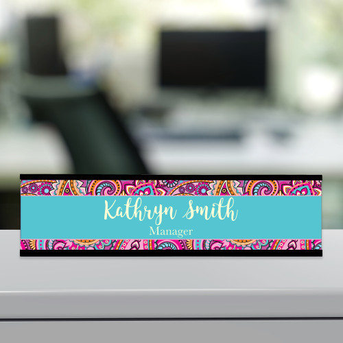 Pink paisley desk name plate