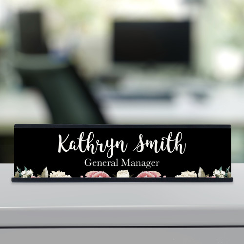 Black floral desk name plate