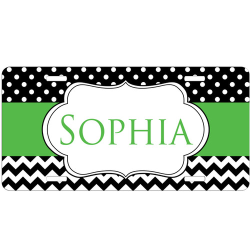 Monogrammed Car Tag - Dots and Chevrons License Plate