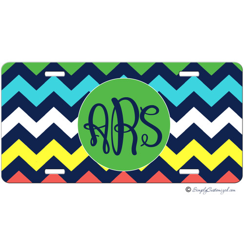 Personalized Car Tag - Tri Color Thick Chevrons Monogrammed - Primary Colors - Monogrammed Car Tag