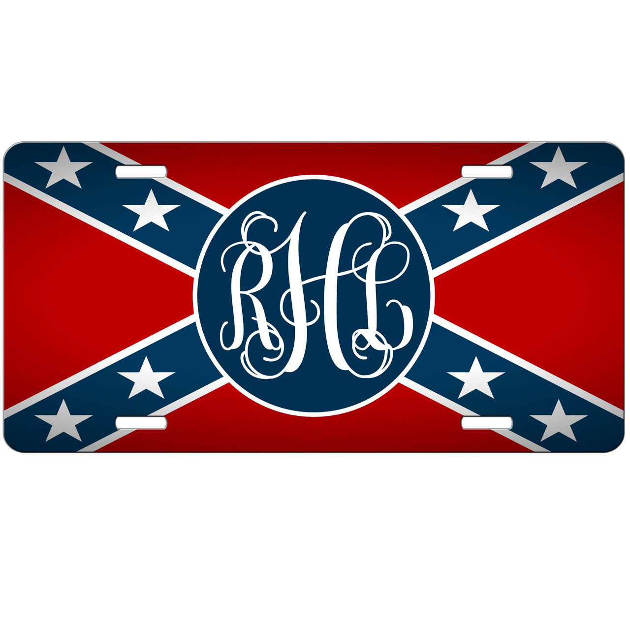 American Flag Monogram Initials License Plate New Car Tag Red White Blue Stars