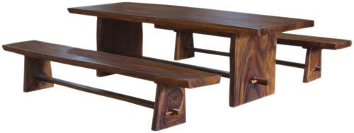 Molu™ Live Edge Teak Slab Table & Bench