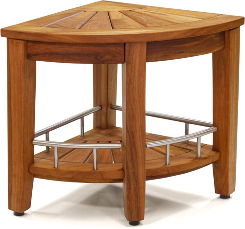 "Patented 15.5"" Kai™ Corner Teak & Stainless Shower Bench with Shelf"