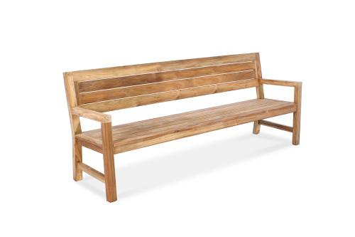 "AquaELITE 83"" Reclaimed Teak Outdoor Bench with Arms"