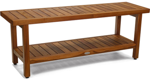 "48"" Spa Teak Shower Bench with Shelf"