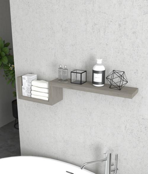 Moa-Elite™ Contemporary Gray Teak Wall Shelf