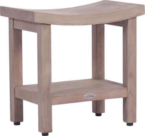 "Patented 18"" Sumba-Elite™ Gray Teak Shower Bench with Shelf"