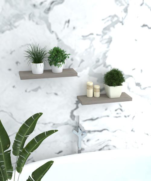 "24"" Moa-Elite™ Gray Teak Flat Wall Shelf"
