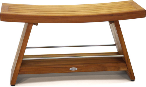 "Patented 36"" Asia® Teak & Stainless Shower Bench with Shelf"