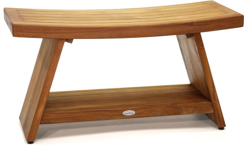 """Patented 36"""" Asia® Teak Shower Bench with Shelf"""