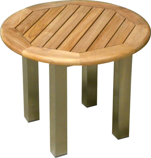 AquaBLEND™ Round Teak & Stainless Steel Side Table