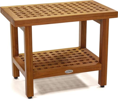"The Original 24"" Grate™ Teak Shower Bench with Shelf"