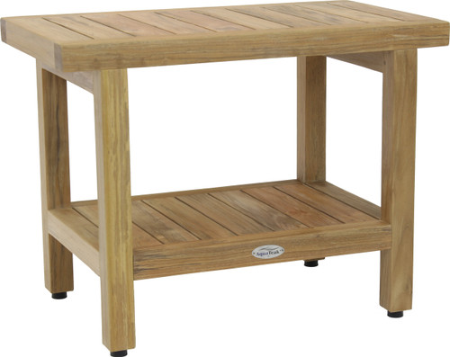 "24"" Spa™ Raw Teak Shower Bench with Shelf"